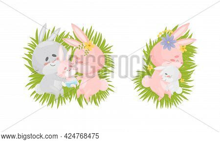 Rabbit Family With Bunny Mom And Dad Sleeping On Green Meadow Embracing Their Cub Vector Set