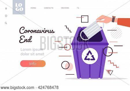 Human Hand Throwing Away Medical Mask In Urn Victory Over Coronavirus Pandemic Quarantine Covid-19 I