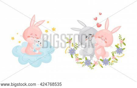 Rabbit Family With Bunny Mom And Dad Dancing And Embracing Their Cub Vector Set