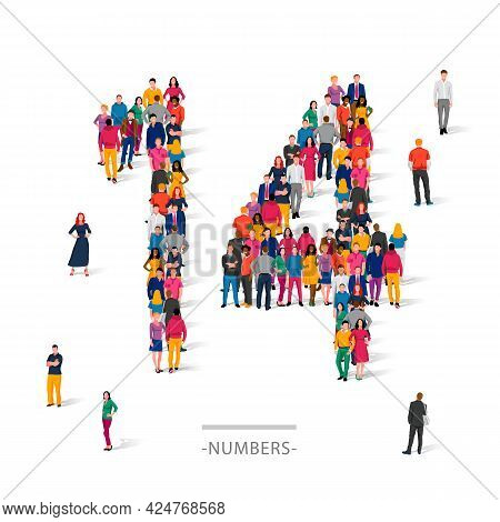 A Large Group Of People Is Standing In Colored Clothes In The Shape Of The Number 14. The Concept Of