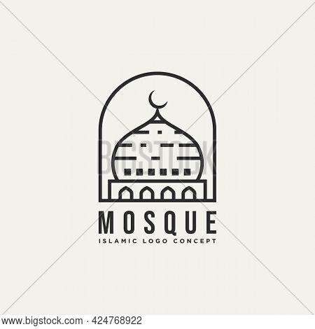 Mosque Dome Minimalist Line Art Badge Logo Template Vector Illustration Design. Simple Modern Islami