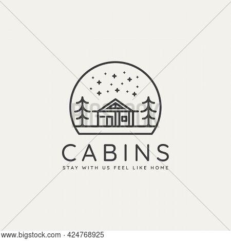 Winter Landscape Cabin Minimalist Line Art Badge Logo Template Vector Illustration Design. Simple Mi