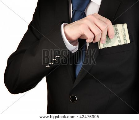Business man hiding money in pocket isolated on white