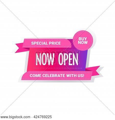 Special Price Now Open Sticker Coronavirus Quarantine Is Over Advertising Campaign Concept
