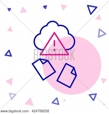 Line Cloud Hacking Icon Isolated On White Background. Cloud Leak. Colorful Outline Concept. Vector