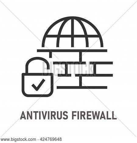 Antivirus Firewall Line Icon On White Background. Editable Stroke.