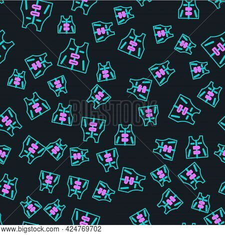 Line Hunting Jacket Icon Isolated Seamless Pattern On Black Background. Hunting Vest. Vector
