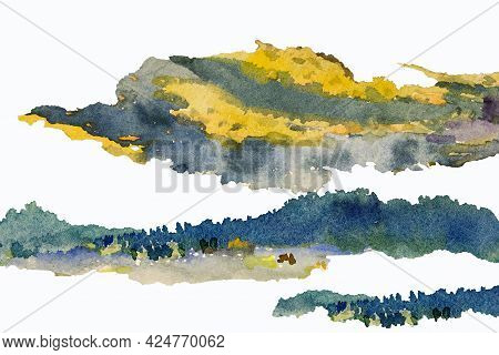 Abstract Contemporary Art For Background Watercolor Painting Colorful Of Natural Design Yellow Blue