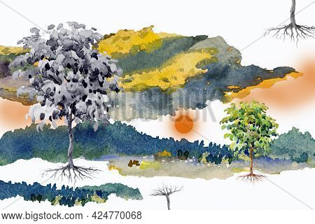 Abstract Contemporary Art For Background Watercolor Painting Colorful Of Sun Tree Natural Design Yel
