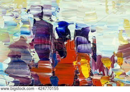 Abstract Art Background. Original Oil Painting Illustration On Canvas. Fragment Of Artwork. Brushstr