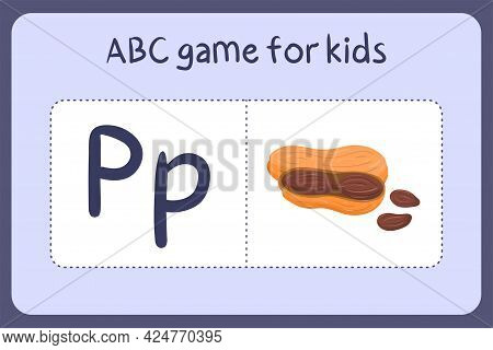 Kid Alphabet Mini Games In Cartoon Style With Letter P - Peanut . Vector Illustration For Game Desig