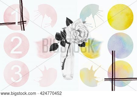 Bright Watercolor Painting Bouquet Of Roses Brush Ink, Splash Stroke Stain Circle. Abstract Art Illu