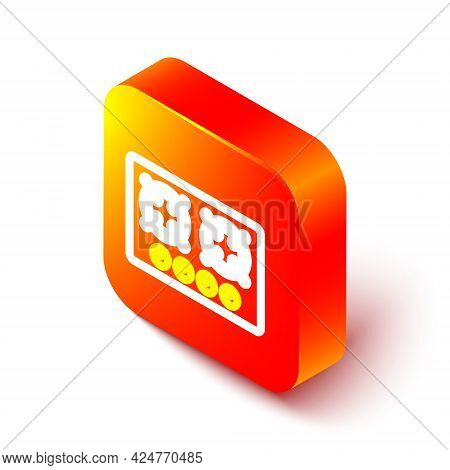 Isometric Line Gas Stove Icon Isolated On White Background. Cooktop Sign. Hob With Four Circle Burne
