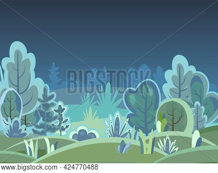 Flat Forest. Night Landscape With Trees. Fog. Illustration In A Simple Symbolic Style. A Funny Green