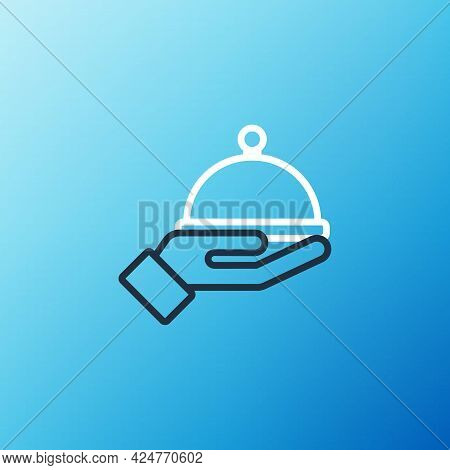 Line Covered With A Tray Of Food Icon Isolated On Blue Background. Tray And Lid Sign. Restaurant Clo