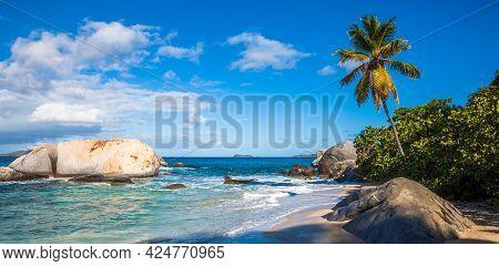 Tropical Beach At The Baths In Virgin Gorda, British Virgin Islands.