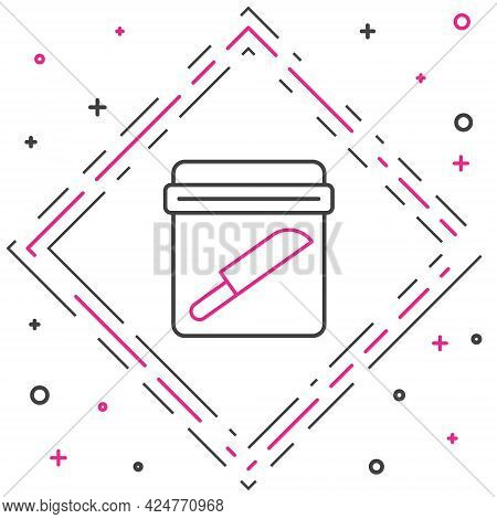 Line Evidence Bag With Knife Icon Isolated On White Background. Colorful Outline Concept. Vector
