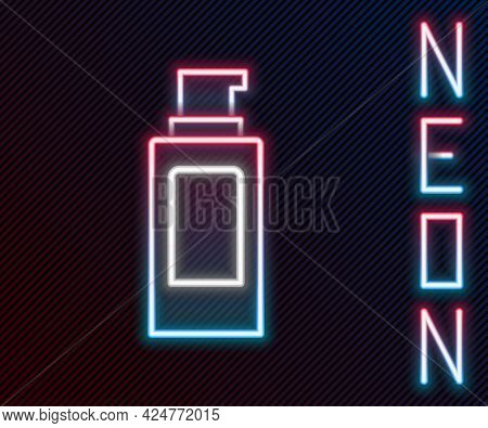 Glowing Neon Line Spray Can For Hairspray, Deodorant, Antiperspirant Icon Isolated On Black Backgrou