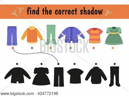 Find The Right Shadow Silhouette For Your Clothes. Children S Educational Game On Paper With A Child
