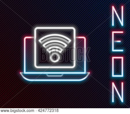 Glowing Neon Line Wireless Laptop Icon Isolated On Black Background. Internet Of Things Concept With