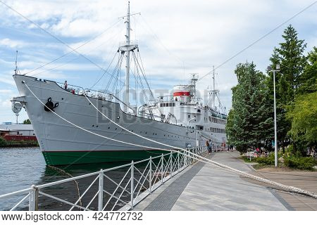 The Ship Vityaz On The Pier In Kaliningrad. The Concept Of Travel And Tourism.
