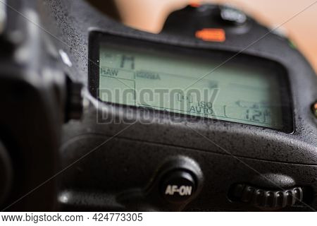 Secondary Lcd Display Of A Modern Dslr Camera With Camera Settings Information Turned On,