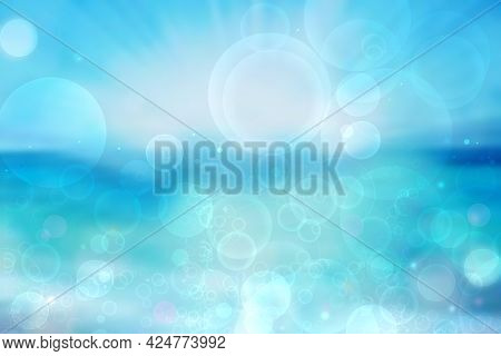 Abstract Ocean Background. Abstract Bright Light Blue Turquoise Tropical Ocean With Sparkling Waves