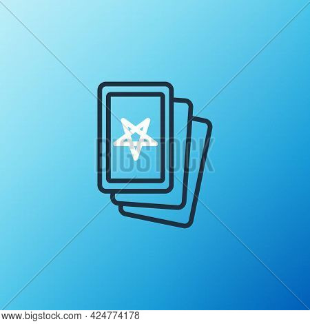 Line Three Tarot Cards Icon Isolated On Blue Background. Magic Occult Set Of Tarot Cards. Colorful O