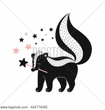 Baby Room Poster With Cute Skunk With Magic Wand. Simple Vector Illustration Isolated On White Backg