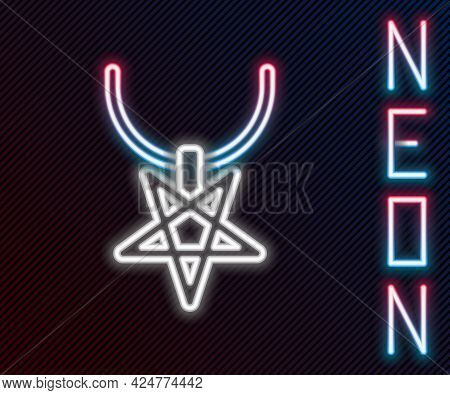 Glowing Neon Line Pentagram On Necklace Icon Isolated On Black Background. Magic Occult Star Symbol.