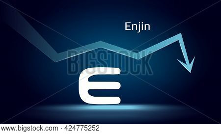 Enjin Enj In Downtrend And Price Falls Down. Cryptocurrency Coin Symbol And Down Arrow. Crushed And