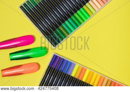Felt Pens For Drawing On A Yellow Background With Place For Text. Stationery Store.