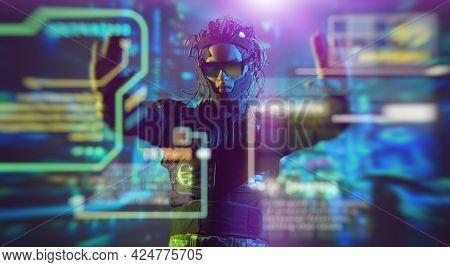 A  warrior of the future controls a digital hologram. Game, virtual reality. Future technologies.