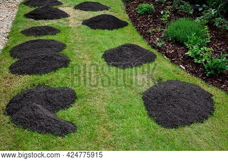 Repair Of Damaged Lawns After Installation Of Automatic Irrigation. Bringing Piles Of Soil And Scatt
