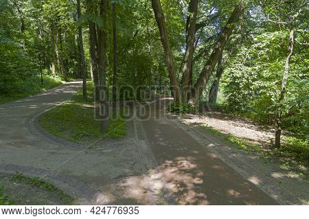 Landscaped Paths In The Park. Tsaritsynsky Park, Moscow, Russia. Sunny Day In June.