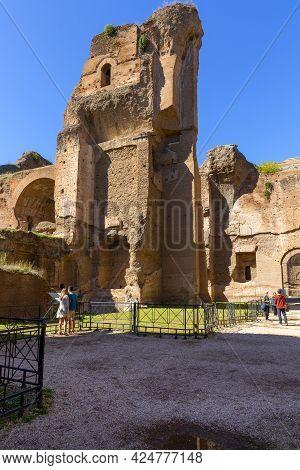 Rome, Italy - October 8, 2020: 3rd Century Baths Of Caracalla (terme Di Caracalla), Ruins Of Ancient