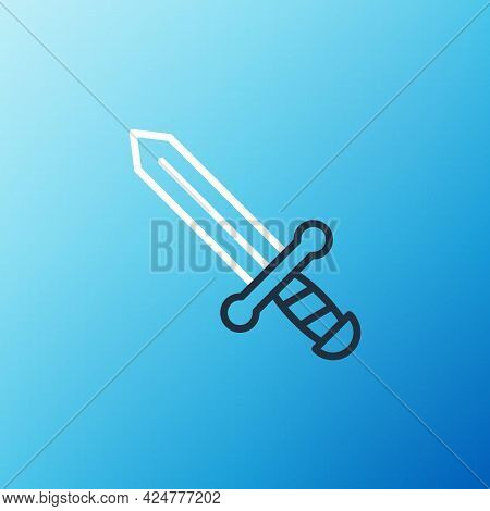 Line Medieval Sword Icon Isolated On Blue Background. Medieval Weapon. Colorful Outline Concept. Vec
