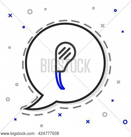 Line Rib Eye Steak Icon Isolated On White Background. Steak Tomahawk. Piece Of Meat. Colorful Outlin