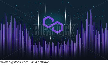 Polygon Matic Token Symbol On Dark Polygonal Background With Wave Of Lines. Cryptocurrency Coin Logo