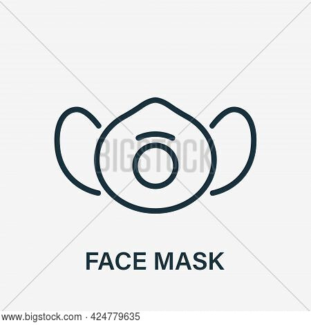 Dust Face Mask Line Icon. Respirator For Protection Against Pollution, Dust, Infection, Virus And Al