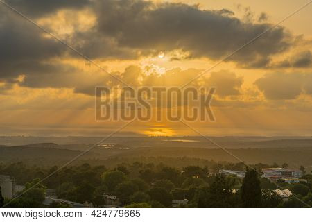 Sunset View Of The Western Galilee And The Mediterranean Sea, From Yehiam, Northern Israel