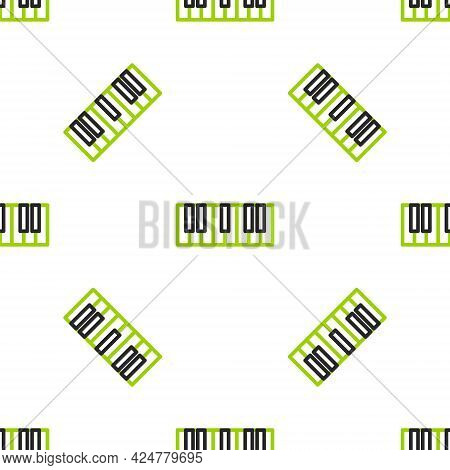 Line Music Synthesizer Icon Isolated Seamless Pattern On White Background. Electronic Piano. Vector