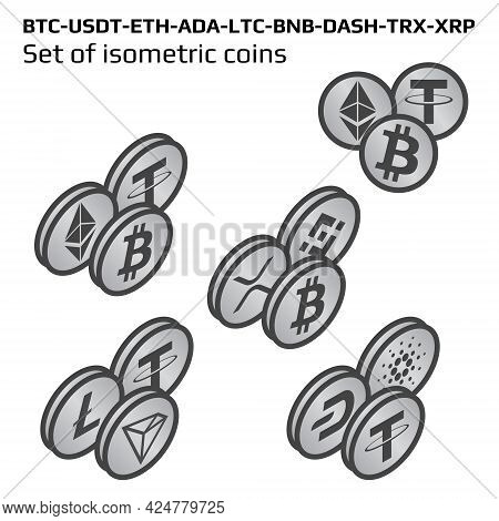 Set Of Isometric Main Cryptocurrency Coins In Bw Isolated On White On Right View. Isometric Crypto S