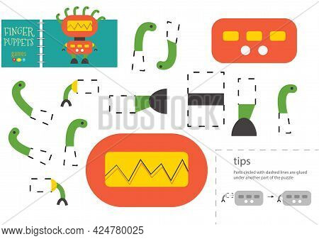 Cut And Glue Paper Vector Toy. Funny Robotic Character As A Cardboard Cutout Model