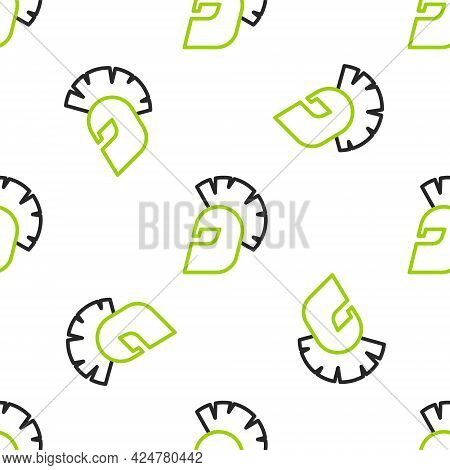 Line Greek Helmet Icon Isolated Seamless Pattern On White Background. Antiques Helmet For Head Prote