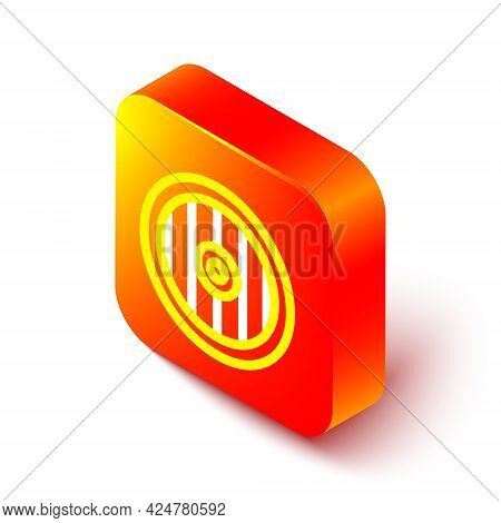Isometric Line Greek Shield With Greek Ornament Icon Isolated On White Background. Orange Square But
