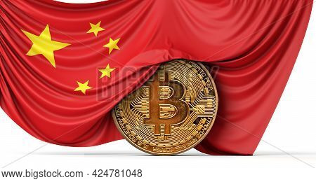 China Flag Draped Over A Bitcoin Cryptocurrency Coin. 3d Rendering