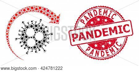 Vector Collage Virus Return Of Covid-2019 Virus Parts, And Pandemic Textured Round Stamp. Virus Elem