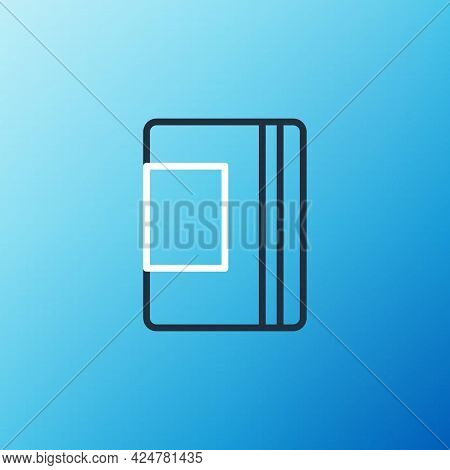 Line Notebook Icon Isolated On Blue Background. Spiral Notepad Icon. School Notebook. Writing Pad. D