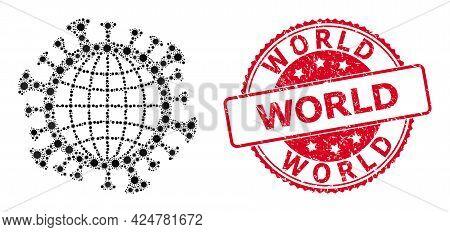 Vector Collage Global Coronavirus Of Flu Virus Items, And World Textured Round Stamp Seal. Virus Ele